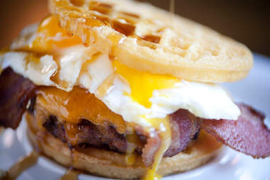 Slater's 50/50 Breakfast Sandwich at Slater's 50/50 at Liberty Station San Diego.