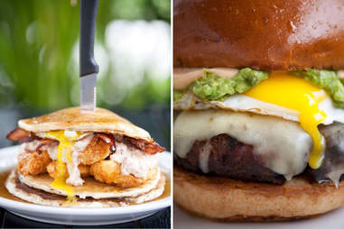 Fried Chicken Pancakes and the 50/50 Burger at Slater's 50/50 at Liberty Station San Diego.