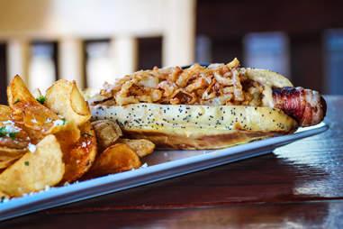 Gourmet Hot Dog big boy style at Sandbar in Mission Beach San Diego.