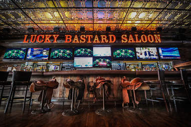 The bar at the Lucky Bastard Saloon in the Gaslamp District of San Diego.