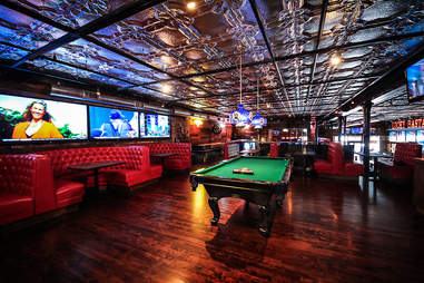 Pool table at the Lucky Bastard Saloon in the Gaslamp District of San Diego.