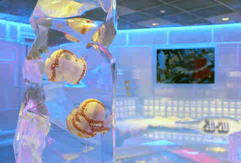 Baseballs frozen in ice at Frost Ice Bar