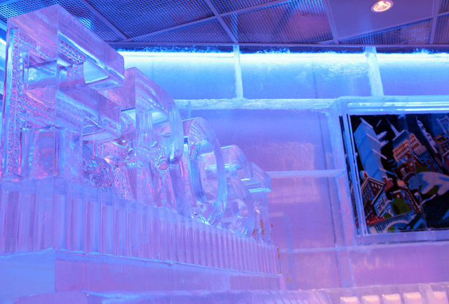 Drink in a bar made entirely out of ice