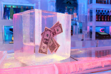 Money frozen in a block of ice at Frost Ice Bar
