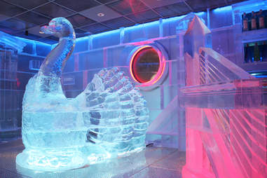 Swan boat ice sculpture at Frost Ice Bar