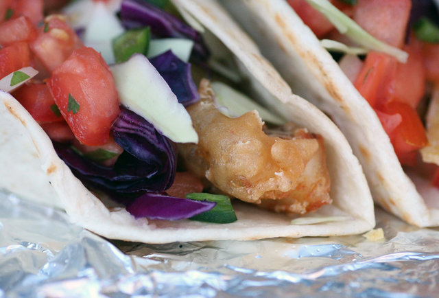 Roll up on fish tacos & fried poblano rings