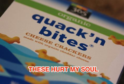 Whole Foods organic quackn bites cheese crackers
