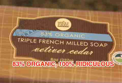 83% organic soap from Whole Foods