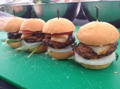 Four cheeseburgers