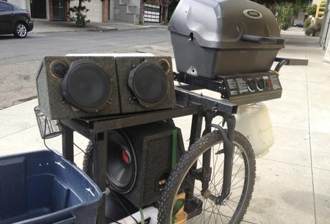 the grill trike bbq speakers propane tricycle trailer