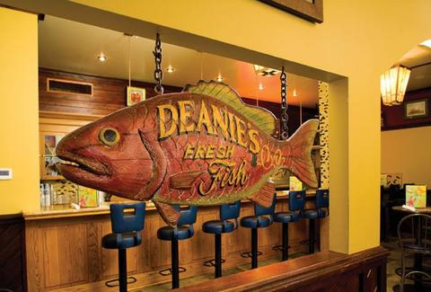 Large wooden fish in Deanie's