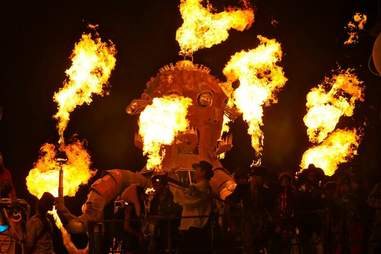 giant metal octopus shooting flames