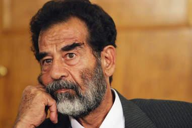 Saddam Hussein looking sad