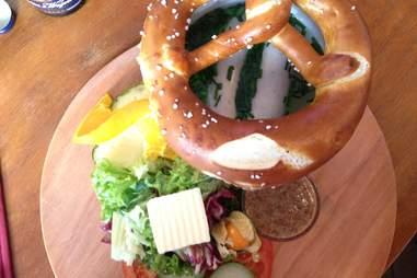 Pretzel and veggies