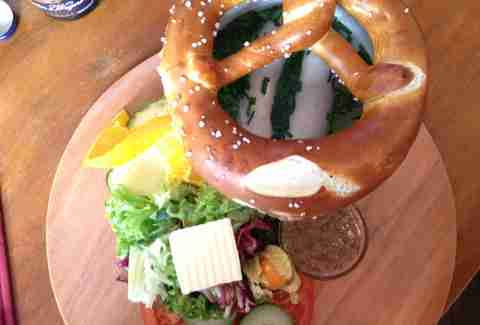 Pretzel and veggies