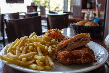Schnitzel calzone and fries