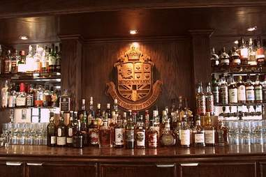 Liquor bottles behind the bar at Burgundy Lion