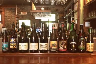 A row of beer bottles