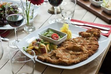 A plate of schnitzel at schnitzelei