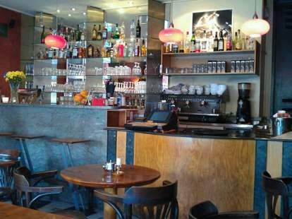 The bar inside Cafe Morgenland