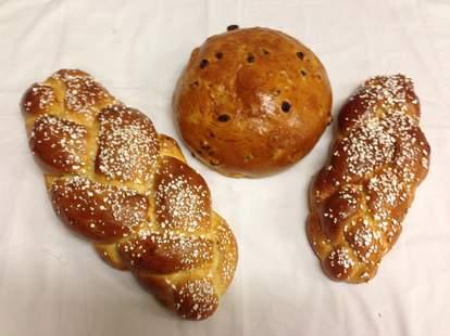 Three bread/pretzel loaves