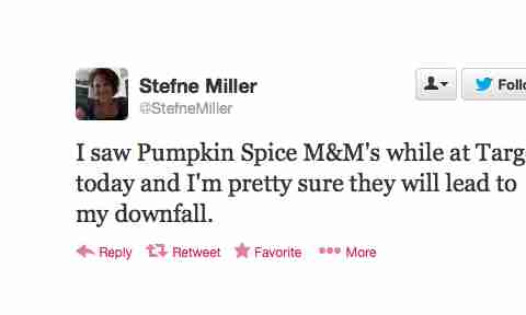 Pumpkin Spice M&Ms Twitter reaction Stefne Miller