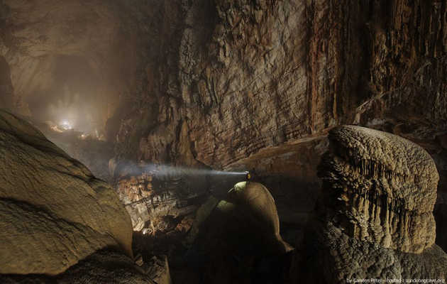 Rappel into the world's largest cave