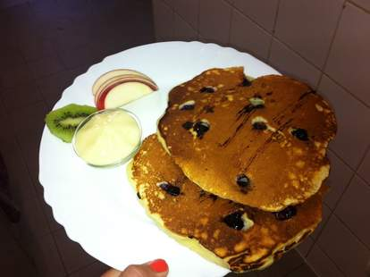 Blueberry pancakes at Atlas