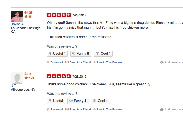 Los Pollos Hermanos has a real Yelp page, and it\'s awesome