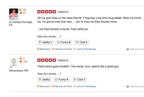 Los Pollos Hermanos Yelp reviews Gus Fring
