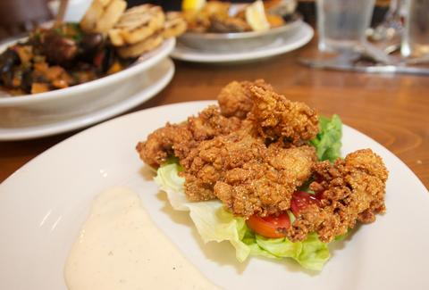 Smoked, fried oysters