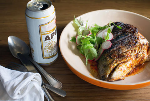 Grilled salmon head and beer at The Kirkland Tap & Trotter