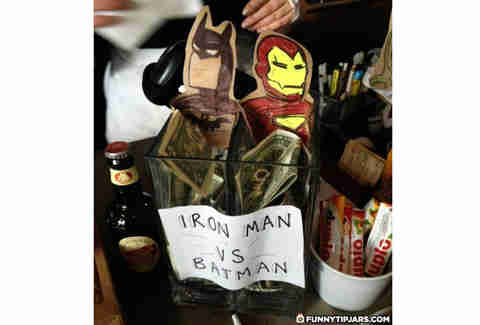 Batman vs. Iron Man tip jar