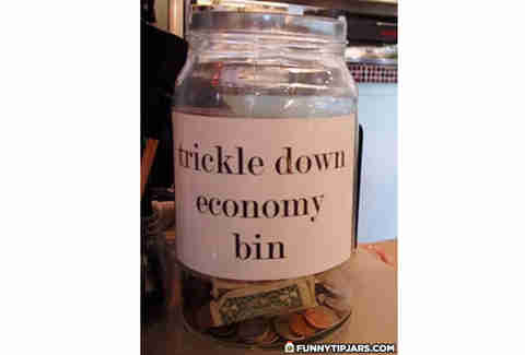 trickle down economy tip jar