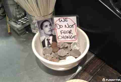 Barack Obama tip jar