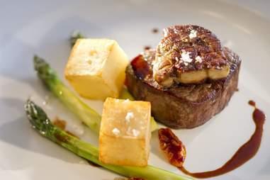 Mark's steak potatoes and asparagus