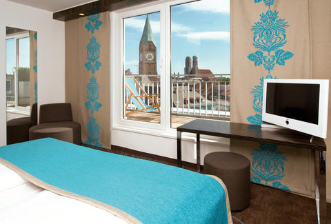 Inside Motel One room