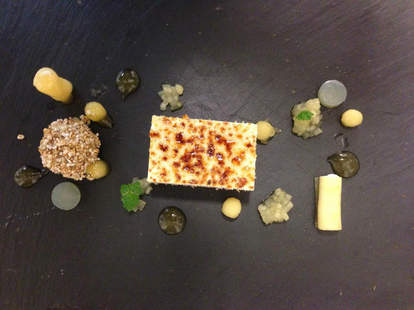 Assorted foods on a slate