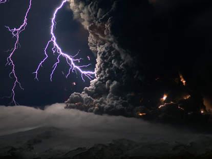 lighting stikes volcano
