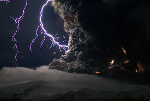 lighting stikes volcano