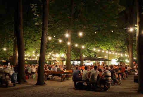 biergarten at night