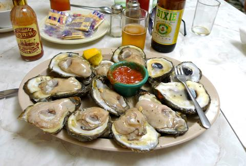A plate full of oysters