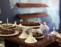Truffles on a cake stand.