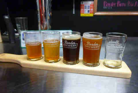 Flight of beers at Border Brewery