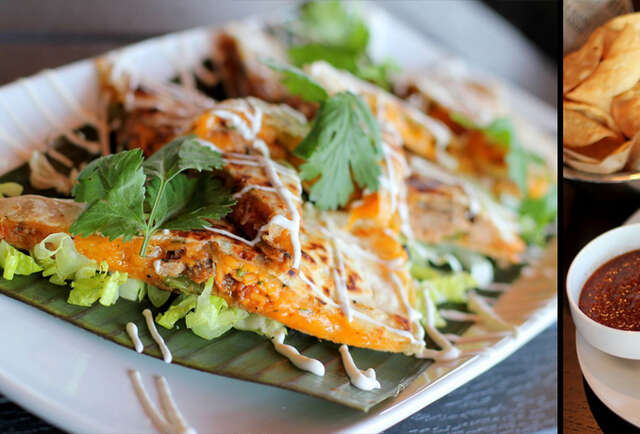 Eat BBQ duck quesadillas above scenic NW Hwy