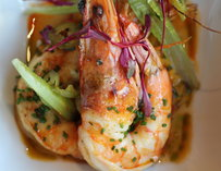 A dish with prawns at Center Bar