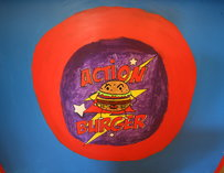 Action burger logo