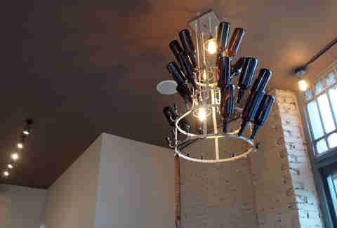 Bottle light fixtures at Hopsters Brew & Boards