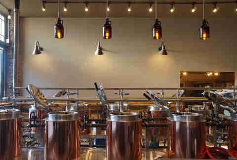 Copper kettles at Hopster's