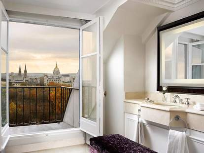 View out the bathroom window at the Westin Paris